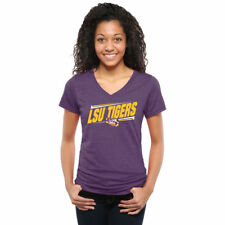 LSU Tigers Women's Purple Double Bar Tri-Blend V-Neck T-Shirt - College
