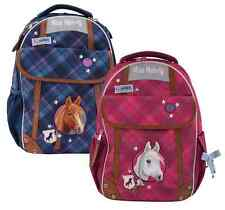"""School backpack """"MISS MELODY"""" Diamonds Horse head bag blue / red"""