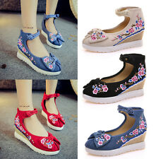 Embroidered Floral Ankle Shoes Womens Ballerina Flat Bowknots Dancing Pumps Size