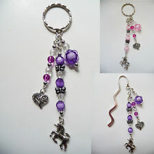 Handmade Beaded Silver Bookmark OR Handbag / Bag Tag / Keyring Dangle - Unicorn