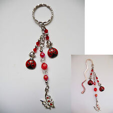Beaded Silver Bookmark OR Handbag / Bag Tag / Keyring Dangle - Lady beetle