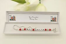 Nursery Teacher Gift. Personalised Red Bookmark Gift. End Of Term. Thank You.