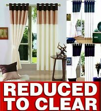 CLEARANCE FAUX SILK PANEL VIENNA RING TOP FULLY LINED EYELET CURTAINS ALL SIZES