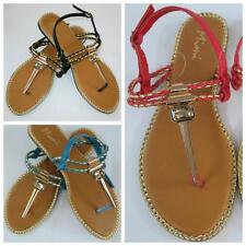 New Womens Gold Accented Thong Flat Sandals Summer Shoes Variety Colors & Sizes