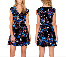 YUMI KIM  Black Floral Printed Dress Blue Silk Wrap Around Swingy  XS Small NWT