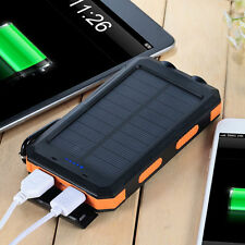 Portable 20000mAh LED Solar Panel Charger Dual USB Battery Power Bank Waterproof