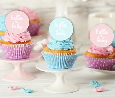 hello baby EDIBLE cupcake toppers baby shower girl boy pink blue