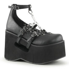 Demonia Kera-09 Black Buckle Strap Skull Platform Shoes - Gothic,Goth,Punk,Black