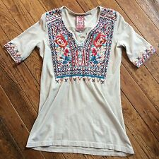 NWT, JWLA, By Johnny Was, Knit Grey Top with Multi Colored Stitching, Several