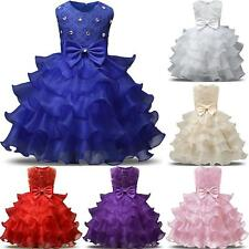 Fashion Flower Girls Princess Dress Kids Ruffles Bowknot Lace Party Dresses