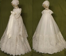 Vintage Pearls Lace Baby Girls Christening Dress Cape Bonnet White Baptism Gown