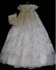 White Ivory Holy Baby Girls Christening Dress Short Sleeve Lace Baptism Gown hat