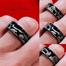 Fox and Bear Engraved Tungsten Wedding Bands, Mens and Women Tungsten Rings 8mm
