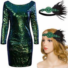 Sequin Cocktail Clubwear Dress 1920s Flapper Dress Gatsby Party Bling Costume