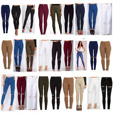 WOMENS LADIES GIRLS HIGH WAISTED EXTREME RIPPED TUBE SKINNY JEANS SIZE  6 TO 22