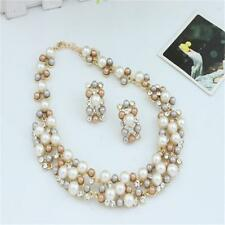 Fashion Women Imitate Pearl Necklace Chunky Statement Bib Necklace + Earrings WL