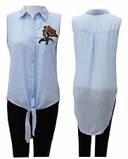 Ladies Womens Rose Embroidered Sleeveless Top Tie Front Collared Blouse