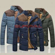 Mens New Jacket Designer Outer Wear Padded Zipper Warm Coat Green Blue Suede S-L