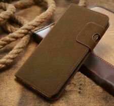 Magnetic Olive Magnetic Flip Wallet Swede Leather Case For Iphone 6 6s {An273