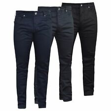 Crosshatch Mens Designer Skinny Jeans Straight Leg Stretch Chinos Trousers
