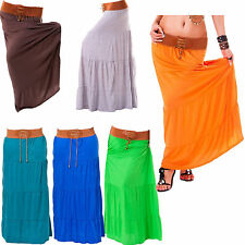 New Ladies Womens Chiffon Lined Pleated Maxi Gypsy Belt Detail Waist Long Skirt