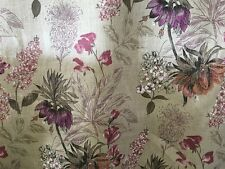 Spring Purple Beige Pink Floral Linen Curtain Blind Interior Fabric