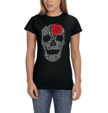 Grey Skull Red Rose Day Of Dead Gothic Design Womens T-Shirt Tee