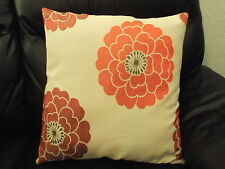 "1 NEW CREAM & LARGE RED FLOWERS CUSHION COVER - AVAILABLE IN SIZE 16"" OR 18"""