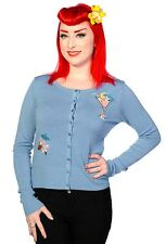 Banned Apparel Cocktail Cardigan Blue Rockabilly PinUp Tiki Vintage Cruise S-L