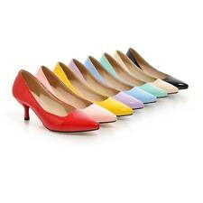 Womens Pumps Dress Pu Leather Pointy Toe Office Lady Shoe#PLUS SIZE 8 COLOR