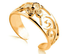 9ct Solid Yellow GOLD Filigree Flower Toe Ring