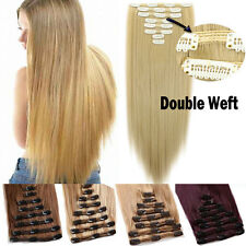 Double Full Head 18clips Clip in Hair Extensions Real thick human synthetic Hair