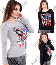 NEW WOMENS LADIES BORN WILD REBELS LIVE FREE EAGLE PRINT TOP LONG SLEEVE T SHIRT
