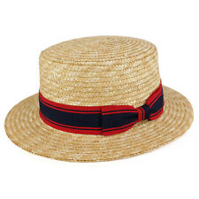 Natural Colored Straw Boater Hat with Striped Hat Band (JS-2830)