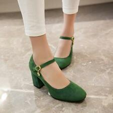Vintage trendy Womens Faux Suede Block Heel Ankle Strap Dating Shoes US4-8#Green