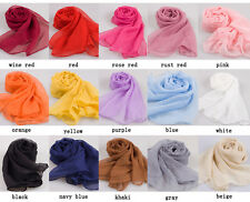 Women Solid Long Large Chiffon Silk Imitate Hijab Scarf Wrap Scarves Shawl 2size