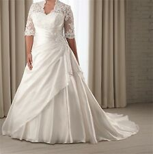 Half Sleeve Lace Wedding Dress Bridal Gown Custom Plus Size14 16 18 20 22 24 26
