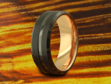 Wedding Band Black & Rose Gold 8MM,His,Hers,Black Tungsten Ring,Two Tone Ring.