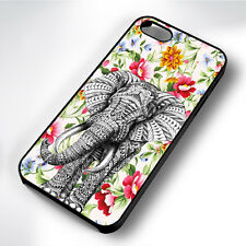 AZTEC ELEPHANT EXOTIC FLORAL RUBBER PHONE CASE COVER FITS IPHONE 4 5 6 7 (#BR)