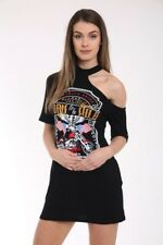 NEW WOMEN ROCKSTYLE BORN TO BE WILD TSHIRT MINI DRESS CASUAL PARTY HOLIDAY TOP