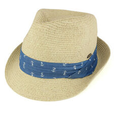 Mens Paper Straw Braid Fedora with Nautical Hat Band (LTC-BT708)