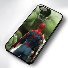 SPIDERMAN INCREDIBLE HULK RUBBER PHONE CASE COVER FITS IPHONE 4 5 6 7 (#BR)