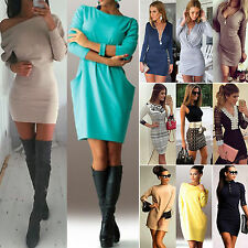 Womens Party Slim Bodycon Mini Dress Ladies Evening Cocktail Long Tops UK 6-16