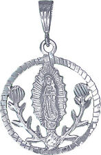 Sterling Silver Virgin Mary and Roses Pendant Necklace Medallion with Chian
