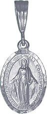 Sterling Silver Virgin Mary Pendant Necklace Medallion Diamond-Cuts with Chian