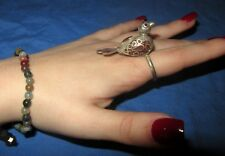 Ring Gemstone Bird Afghan Kuchi Tribal Alpaca Silver Size 8 -10 2""