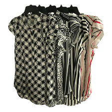 New Womens Short Sleeve Striped Floral Polka Dot Print Shirt Blouse Tops Size XL