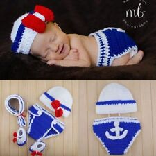 Newborn Baby Girls Boys Costume Knit Navy Sailor Photo Photography Prop Outfit