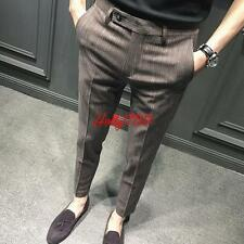 Mens Cotton Stylish Casual Grey All-match Pants Dress suit Trousers#Size 28-36