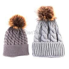 Baby Winter Warm Knit Hat Infant Toddlers Kids Crochet Fur Hairball Beanie Caps
